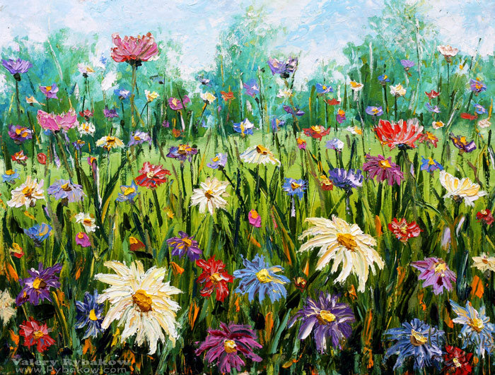 Artwork of flowers png library library Valery Rybakow >> New Flowers oil painting Wildflowers. Palette ... png library library