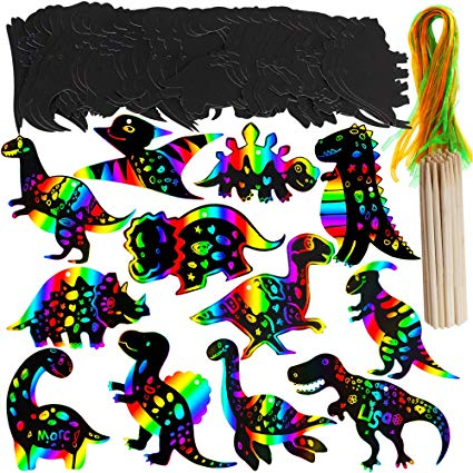 Arty loon magic show clipart graphic black and white Supla 36 Set Dinosaur Birthday Party Game Supplies Magic Color Scratch Art  Rainbow Dinosaur Ornaments Dinosaur Craft Kits Dinosaur Party Favor for ... graphic black and white