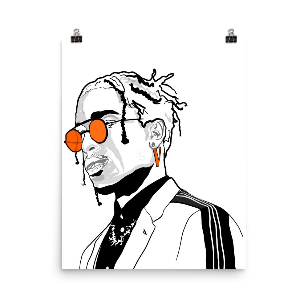 Asap cartoon clipart png black and white stock Amazon.com: Babes & Gents AAP ASAP Rocky Vlone 11x17 Art Poster ... png black and white stock