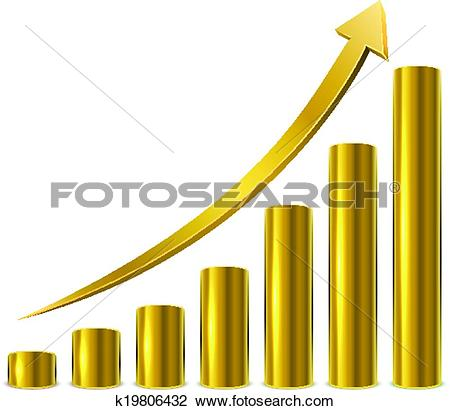 Ascending arrow clipart jpg free download Clipart of Cylinder glossy golden graph bars with ascending arrow ... jpg free download