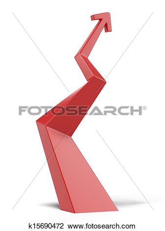 Ascending arrow clipart. Clip art of red
