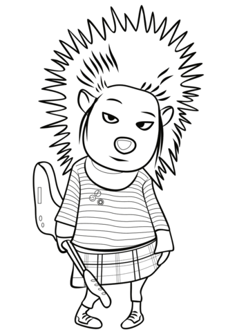 Ash sing clipart png free library Porcupine Ash from Sing coloring page | Free Printable Coloring Pages png free library
