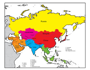 Asia clipart jpg free stock Asia: Clip Art Map Set jpg free stock