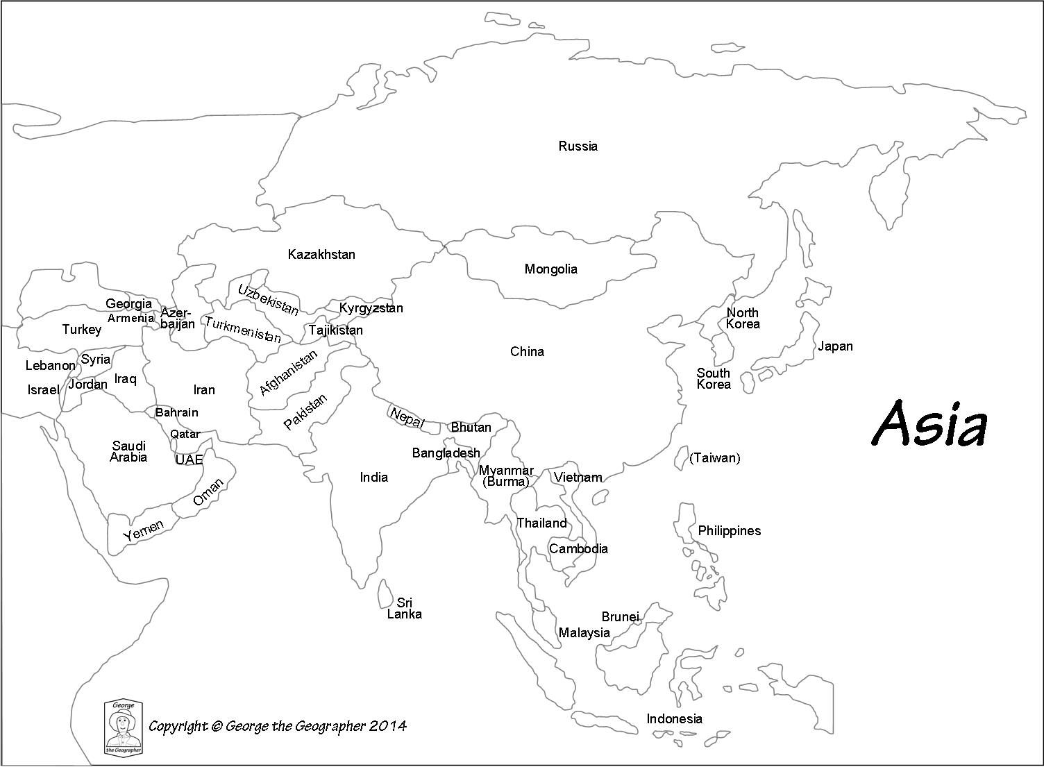 Asia map outline clipart banner library stock Outline Map Of Asia With Countries Labeled Blank For | Passport Club ... banner library stock