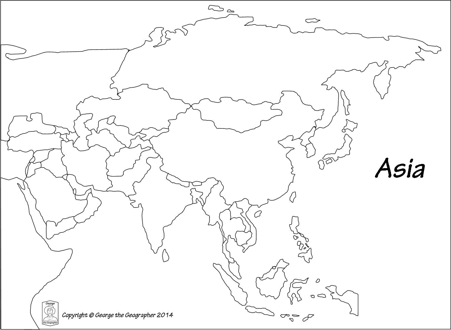 Asia map outline clipart jpg freeuse Map Of Asia Drawing at PaintingValley.com | Explore collection of ... jpg freeuse