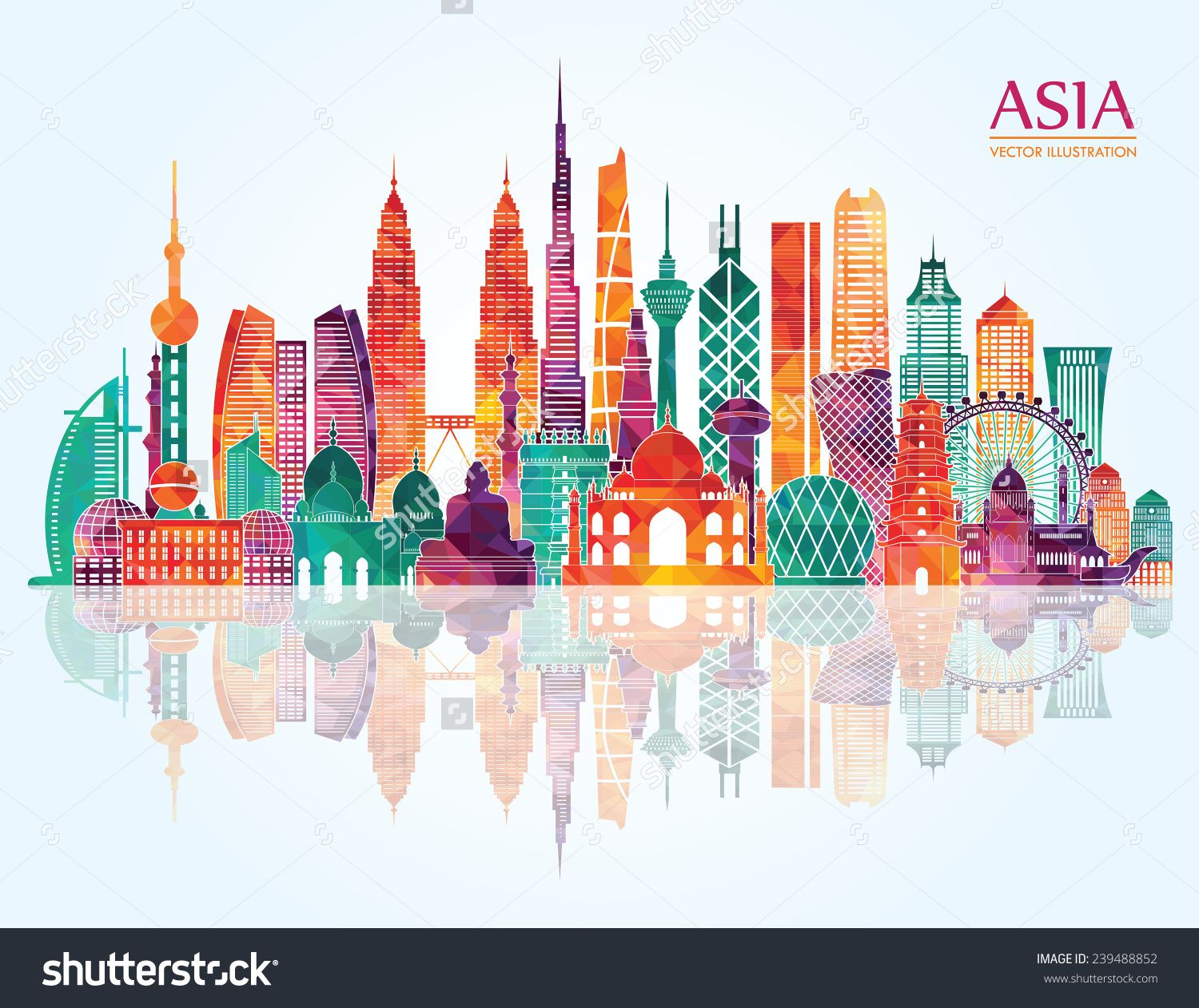 Asia skyline clipart png black and white stock Asia Skyline Detailed Silhouette. Vector Illustration - 239488852 ... png black and white stock