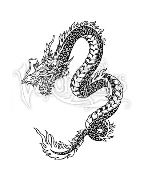 Asian cart clipart png freeuse Detailed Scales Asian Dragon Tattoo ClipArt png freeuse