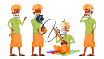 Asian elderly clipart graphic freeuse download Indian Old Man Poses Set Vector. Hindu. Asian. Elderly People ... graphic freeuse download