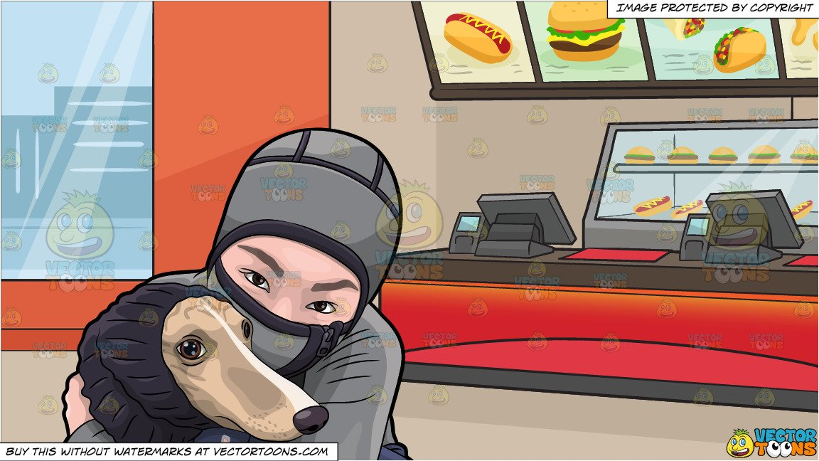 Asian girl hugging dog clipart image library download A Woman Hugging Her Dog During A Cold Day and Inside A Fast Food Restaurant  Background image library download
