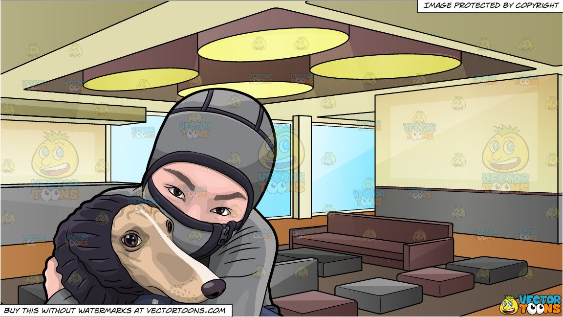Asian girl hugging dog clipart picture library A Woman Hugging Her Dog During A Cold Day and A Modern Hotel Lobby  Background picture library
