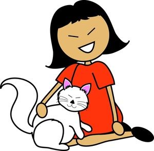 Asian girl hugging dog clipart graphic free Pet Clipart Image: Cartoon asian girl with a white cat on her lap ... graphic free