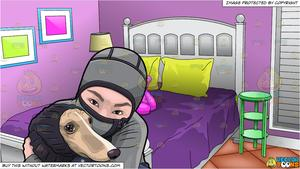 Asian girl hugging dog clipart vector stock A Woman Hugging Her Dog During A Cold Day and Young Girls Bedroom Background vector stock