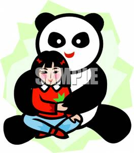Asian girl hugging dog clipart png freeuse A Panda Bear Hugging an Asian Girl - Royalty Free Clipart Picture png freeuse