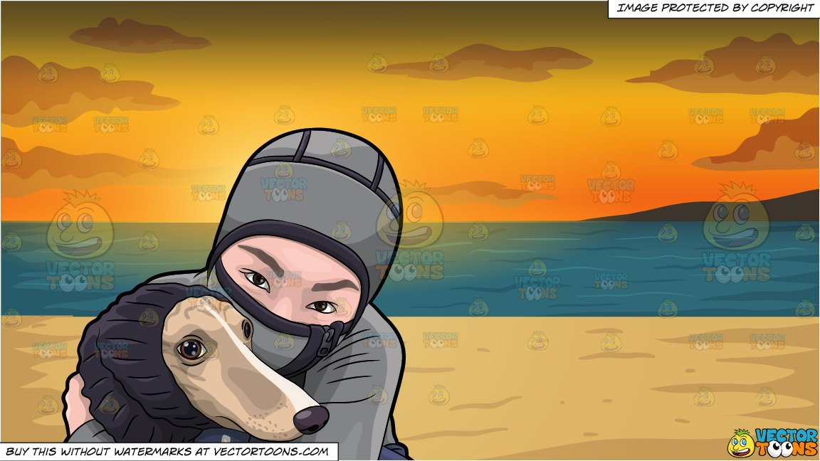 Asian girl hugging dog clipart png freeuse A Woman Hugging Her Dog During A Cold Day and Beach Sunset Background png freeuse
