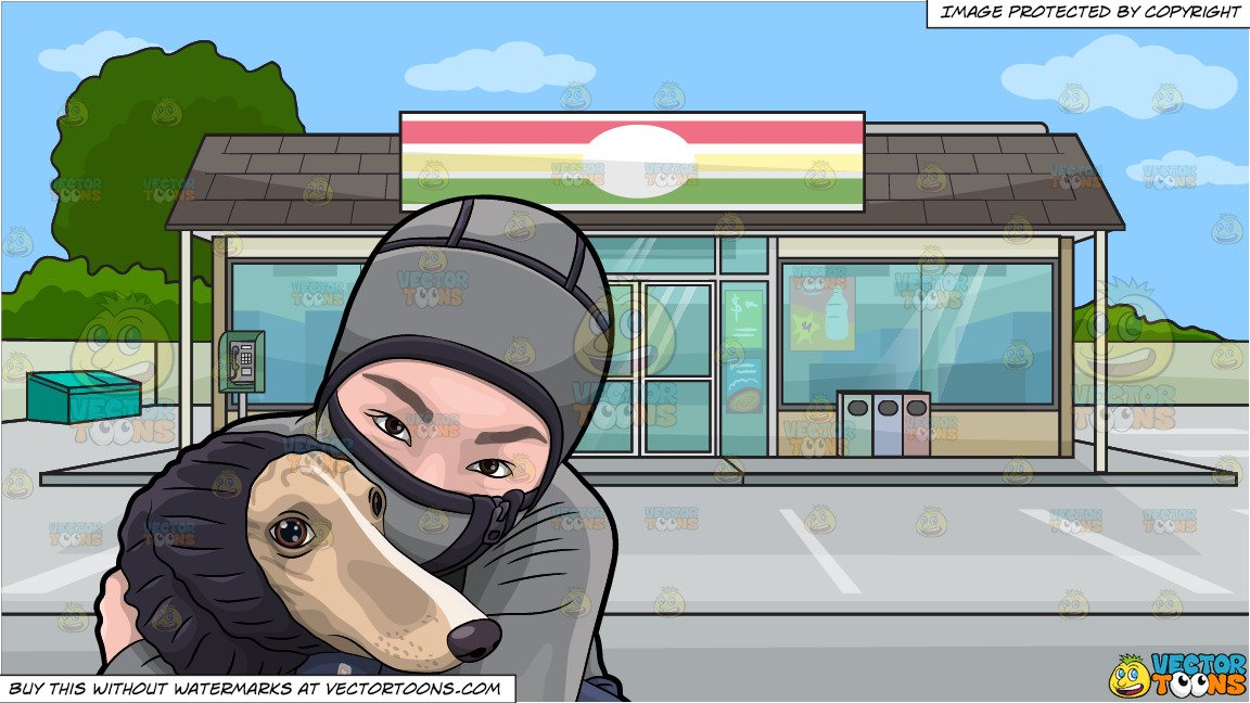 Asian girl hugging dog clipart svg free library A Woman Hugging Her Dog During A Cold Day and Outside A Convenience Store  Background svg free library
