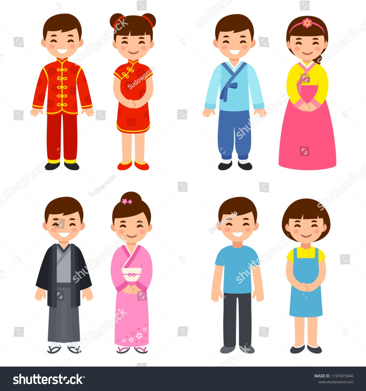 Asian grandparents clipart banner transparent Cute cartoon children in traditional costumes of Asian countries ... banner transparent