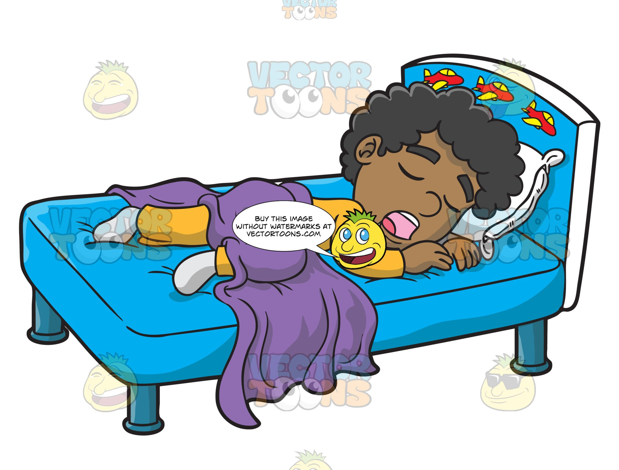 Sleepy boy clipart vector freeuse download A Black Boy Sleeping With His Saliva Flowing Down vector freeuse download
