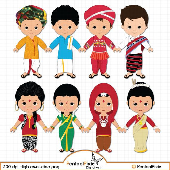 Unity among kids clipart black and white cartoon banner freeuse library Children of India clipart, Children, Unity clipart, Ethnic Kids ... banner freeuse library