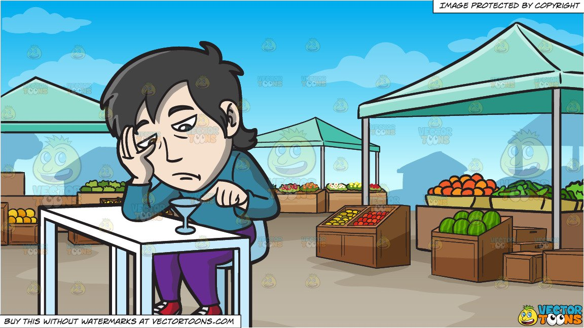 Asian market clipart image free library A Bored Asian Guy In A Bar and An Outdoor Farmers Market Background image free library