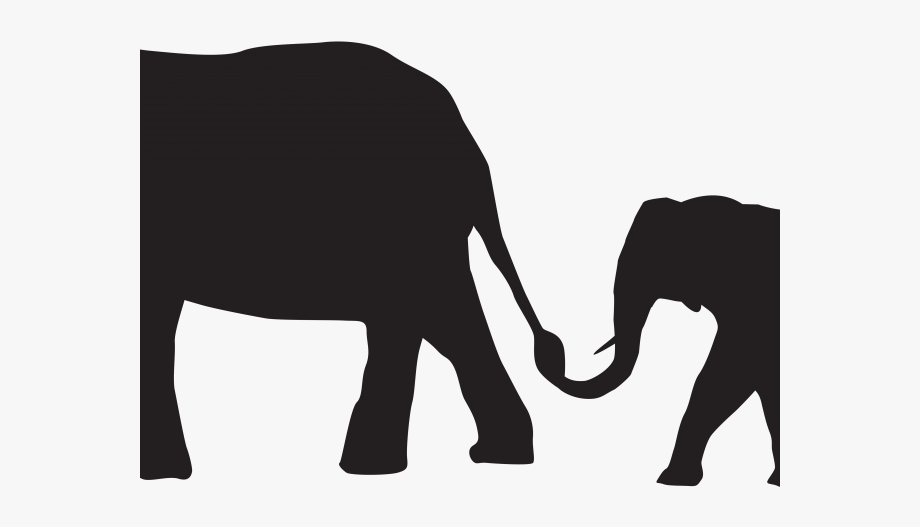 Mommy animal with their baby clipart black and white free stock Asian Elephant Clipart Silhouette - Mom And Baby Elephant Silhouette ... free stock