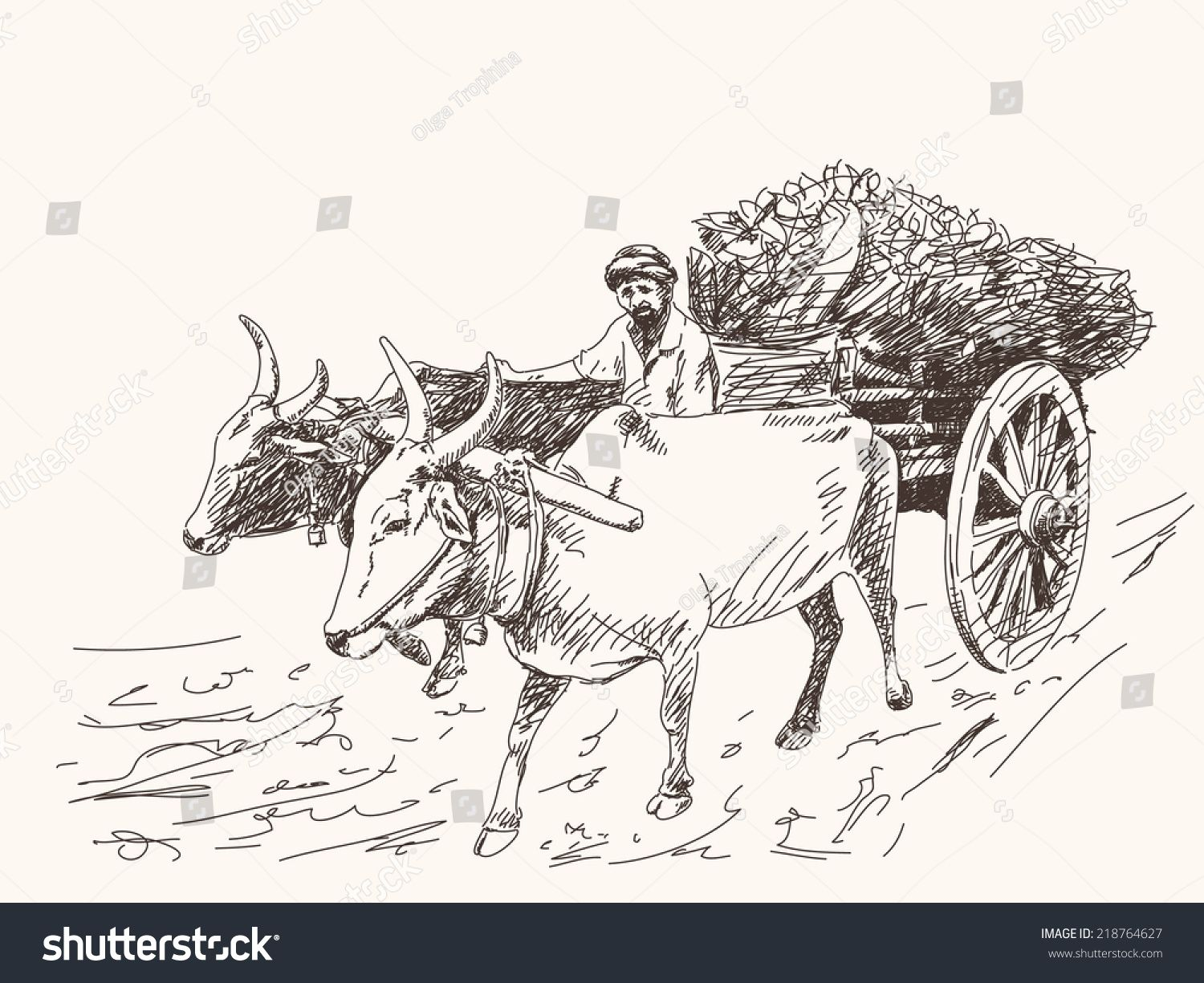 Oxcart clipart svg black and white library Asian farmer riding on ox cart sketch Hand drawn illustration ... svg black and white library