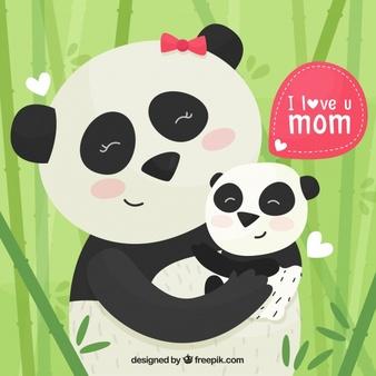 Asian panda mom with baby panda clipart picture clip art stock Panda Vectors, Photos and PSD files | Free Download clip art stock