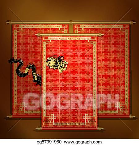 Asian scroll clipart vector royalty free library Vector Art - Red scroll with chinese dragon golden. EPS clipart ... vector royalty free library