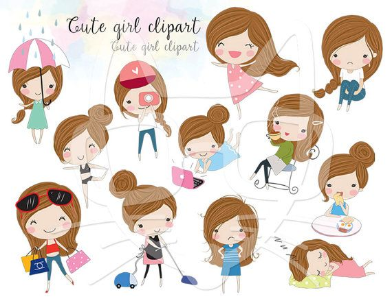 Ask adult clipart girl clip transparent library Brown hair Girl ,girl stickers set 1, instant download PNG file ... clip transparent library
