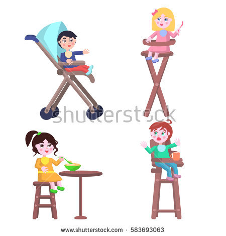 Ask for food clipart svg library download Little Boy Girl Baby Highchair Vector Stock Vector 401201059 ... svg library download