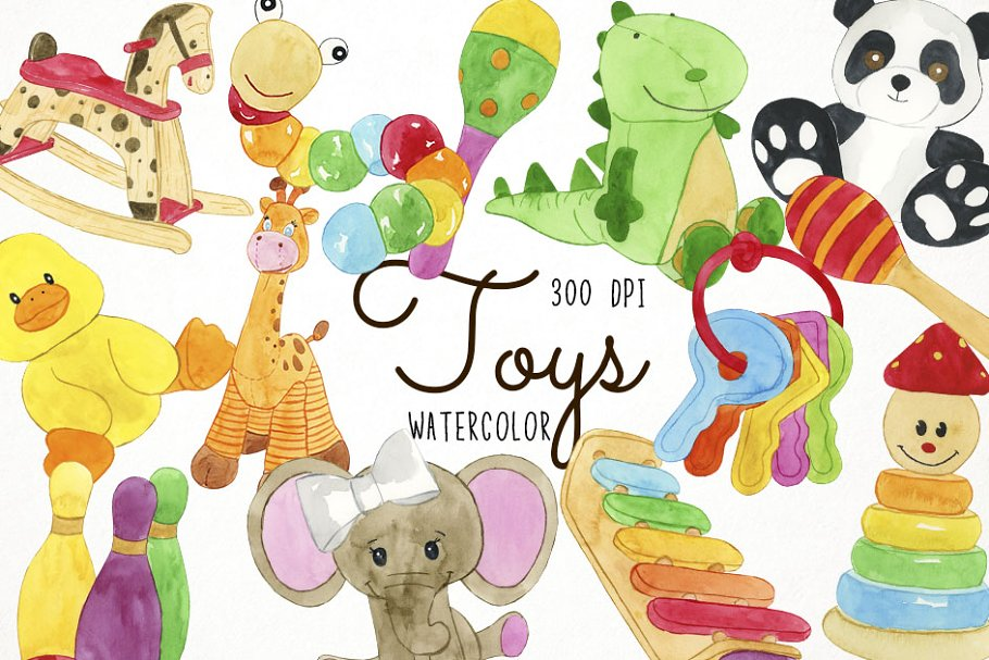 Ask for toy clipart jpg free stock Watercolor Toys Clipart ~ Illustrations ~ Creative Market jpg free stock