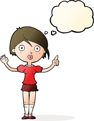 Asking clipart banner royalty free Cartoon Girl Asking Question With Thought Bubble premium clipart ... banner royalty free