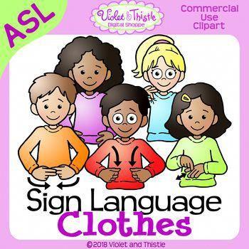 Asl children clipart picture transparent stock ASL American Sign Language Kids/Children signing Clothes Clothing ... picture transparent stock