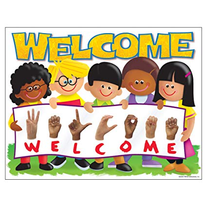 Asl children clipart png Trend Enterprises Sign Language Welcome Kids Learning Chart (1 Piece ... png