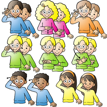Asl children clipart png download ASL American Sign Language Kids signing Family Words Clipart Clip Art png download
