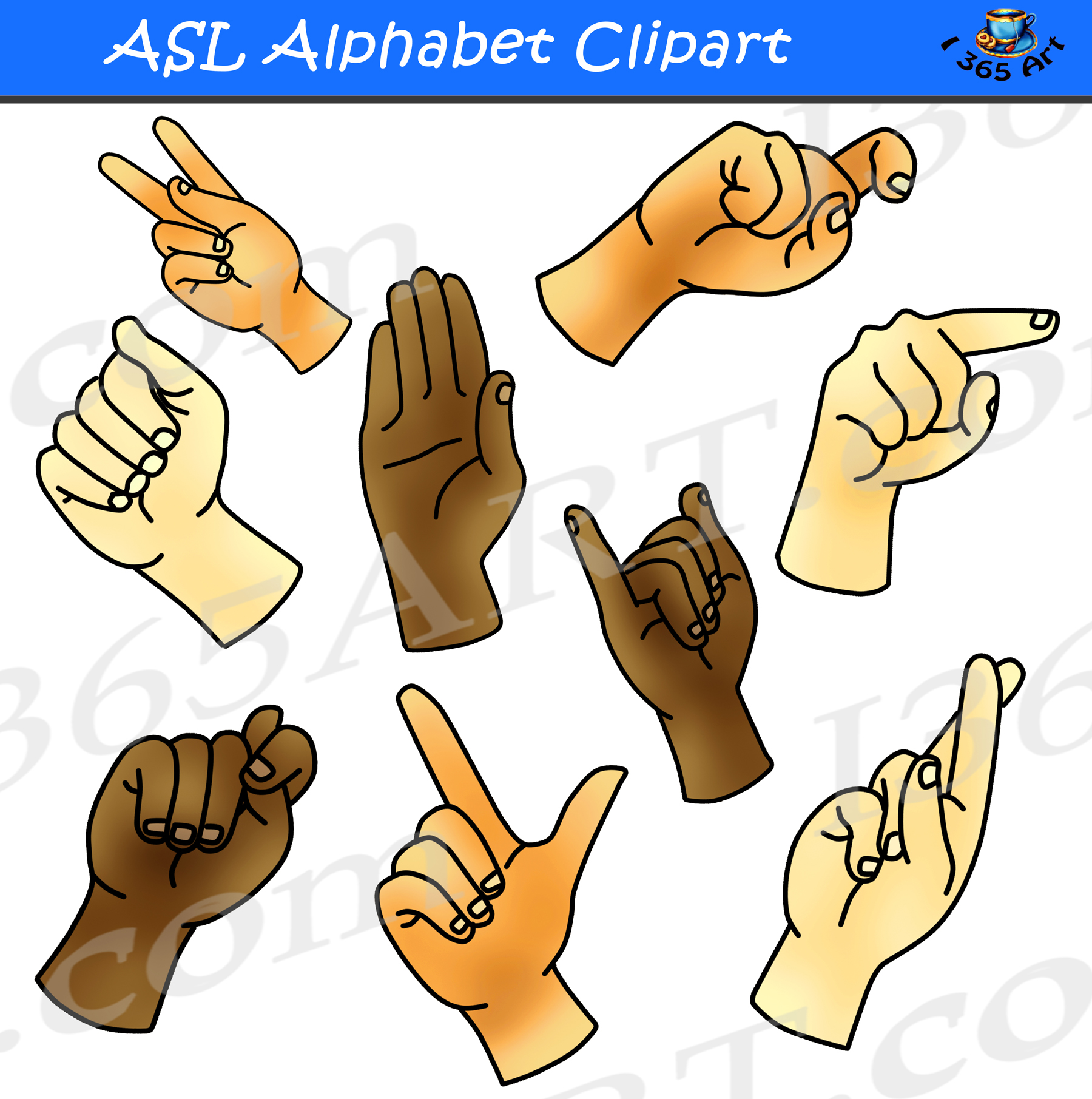 Asl clipart stock ASL Alphabet Clipart Bundle Pack stock