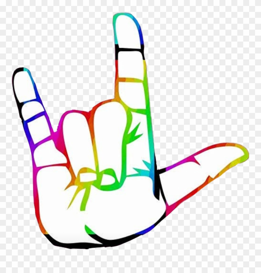 Asl clipart vector royalty free library Iloveyou Hand Colorful Rainbow Asl Clipart (#2823659) - PinClipart vector royalty free library