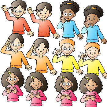 Family with 4 kids clipart all girls clip freeuse library ASL American Sign Language Kids signing Family Words Clipart Clip Art clip freeuse library