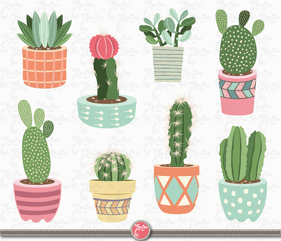 Cactus drawing clipart svg freeuse download Pots de cactus clipart pack « CACTUS CLIPART », Tribal, Clipart ... svg freeuse download