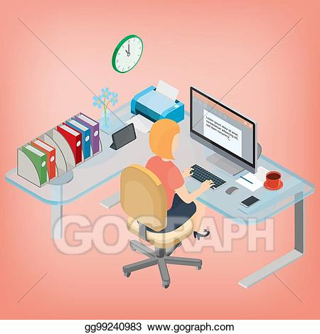 Assistant manager images clipart picture transparent EPS Illustration - Secretary, assistant manager, woman working at ... picture transparent