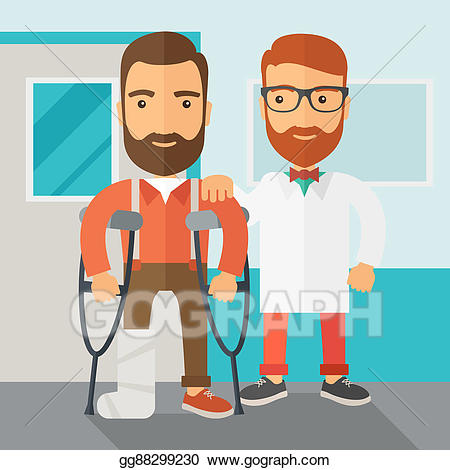 Assisted clipart svg royalty free stock Stock Illustration - Injured man assisted by a doctor. Clipart ... svg royalty free stock