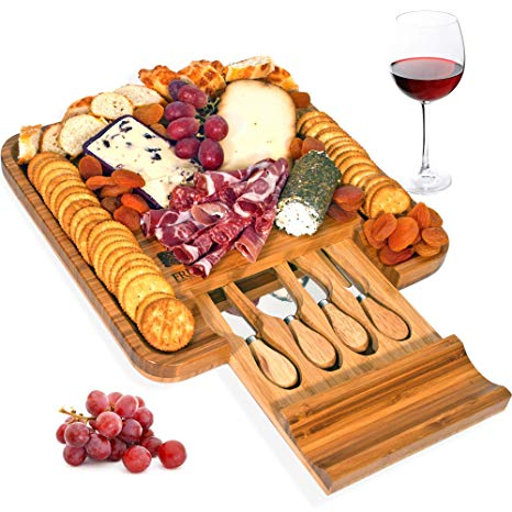 Assorted crackers tray clipart freeuse download Bamboo Cheese Board and Knife Set, Wood Charcuterie Platter and Serving  Meat & Cheese Board with Slide-Out Drawer for Cutlery, 4 Stainless Steel ... freeuse download