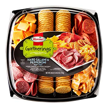 Assorted crackers tray clipart png Hormel Gatherings, Hard Salami & Pepperoni Party Tray, 28 oz png