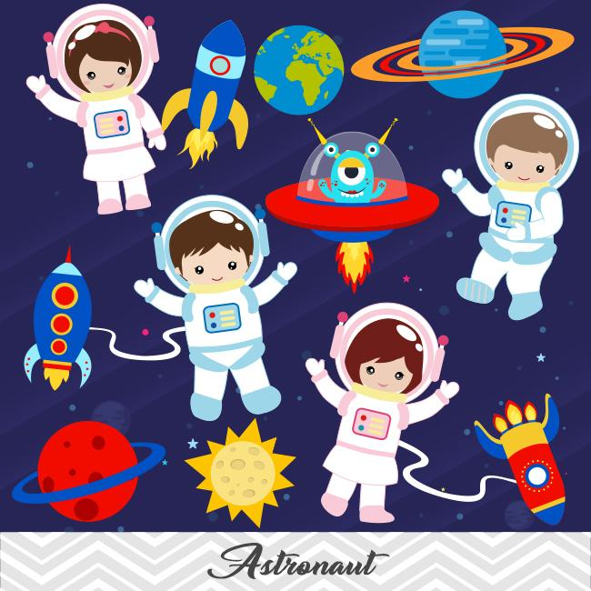 Astronaot clipart image transparent library Astronaut Digital Clip Art, Space Clipart, Boys and Girls Astronaut  Clipart, 00246 image transparent library
