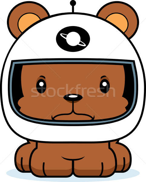 Astronaut clipart angry image black and white Cartoon Angry Astronaut Bear vector illustration © Cory Thoman ... image black and white