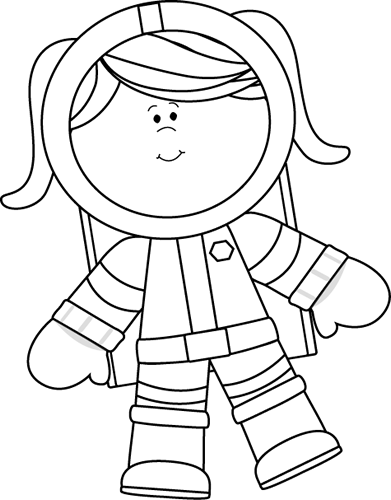 Clipart outer space neat black and white banner transparent Black and White Girl Astronaut Floating Clip Art - Black and White ... banner transparent