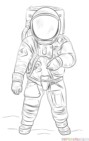 Astronaut clipart coloring realistic clip transparent library How to draw an astronaut | Step by step Drawing tutorials | Eclectic ... clip transparent library