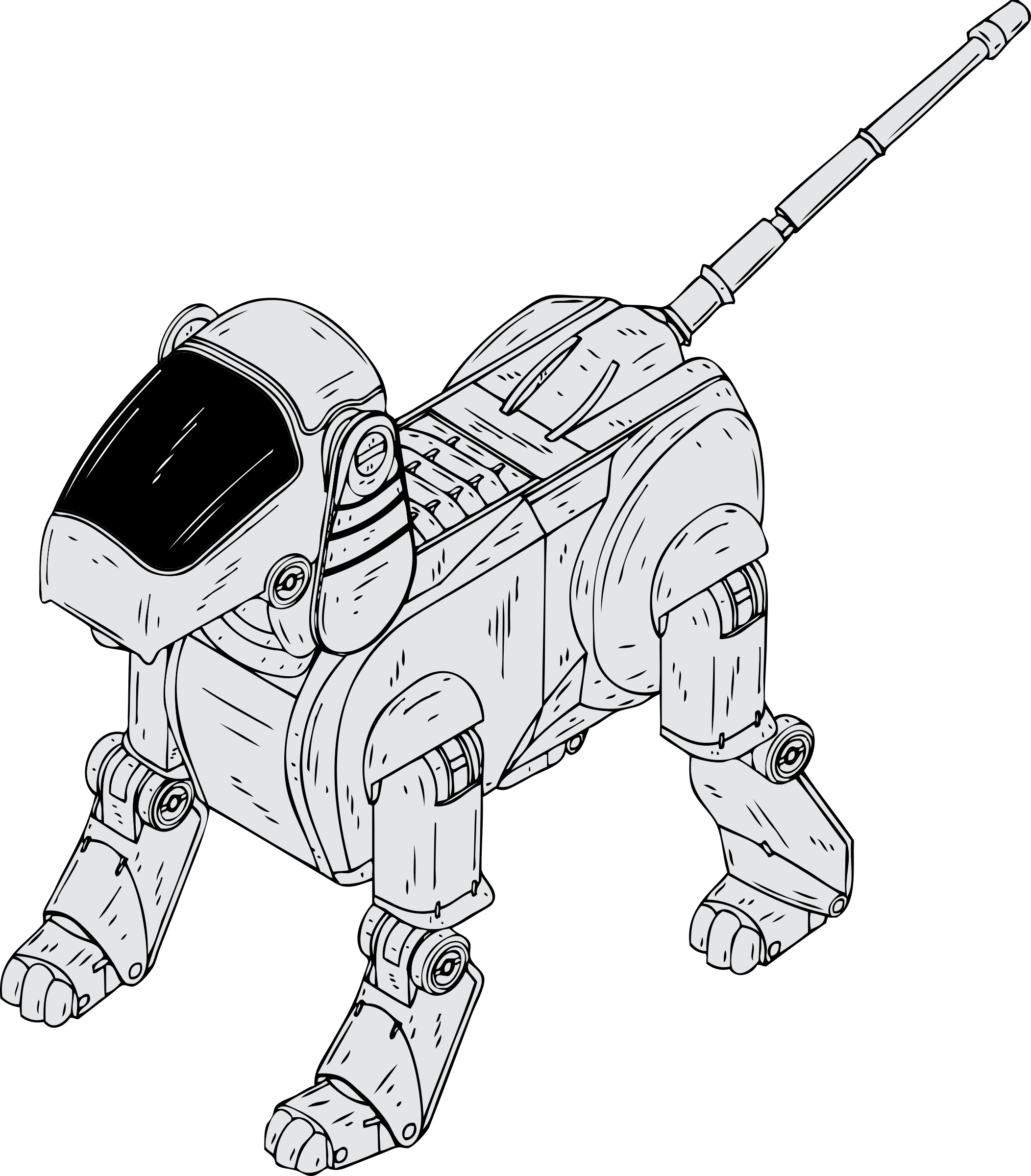 Clipart coloring book dog toys picture free Clipart - robot dog picture free