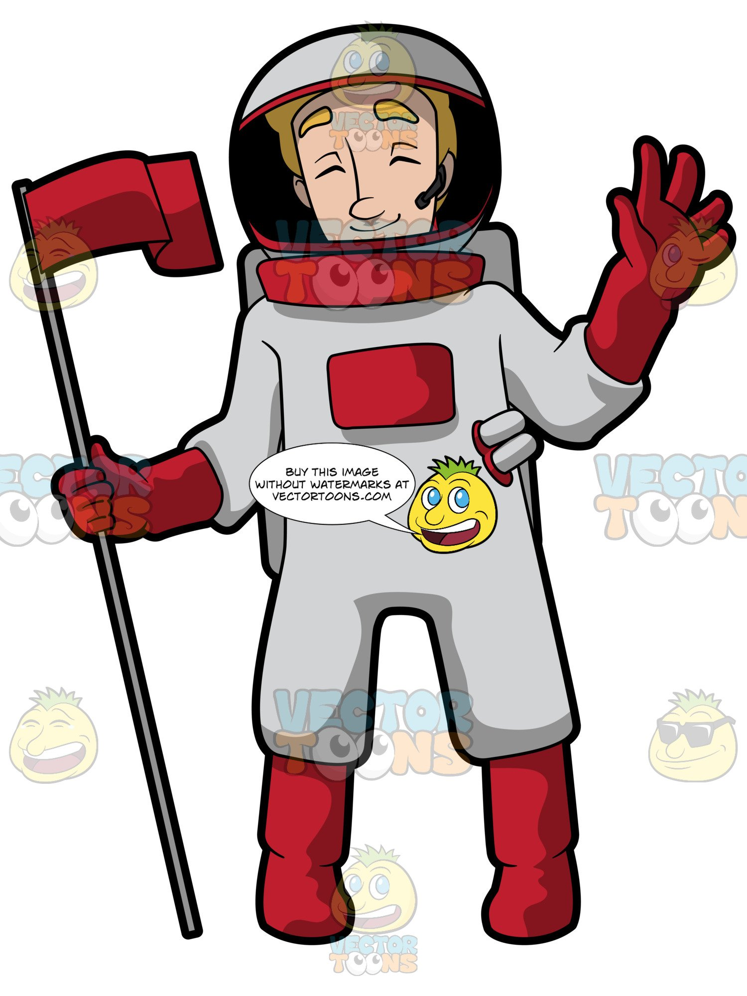 Astronaut holding flag clipart svg royalty free stock A Female Astronaut Holding A Pole With A Waving Red Flag Greets The World  During A Mission Telecast svg royalty free stock