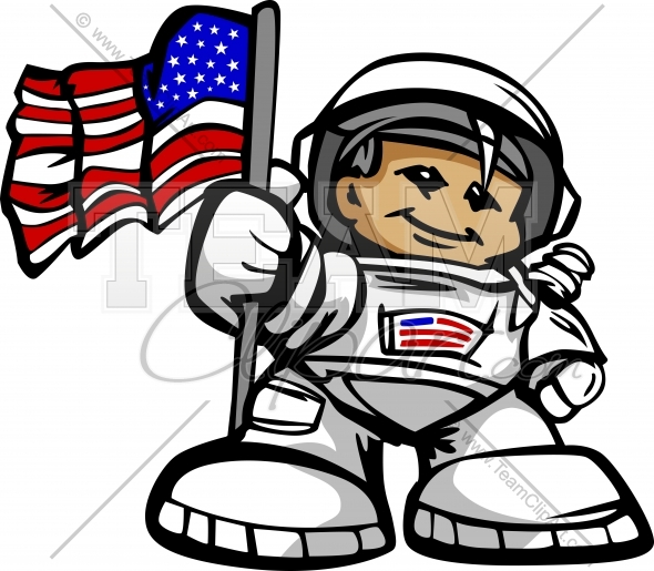 Astronaut holding flag clipart clip art black and white stock Happy Astronaut Spaceman with American Flag Cartoon Vector ... clip art black and white stock