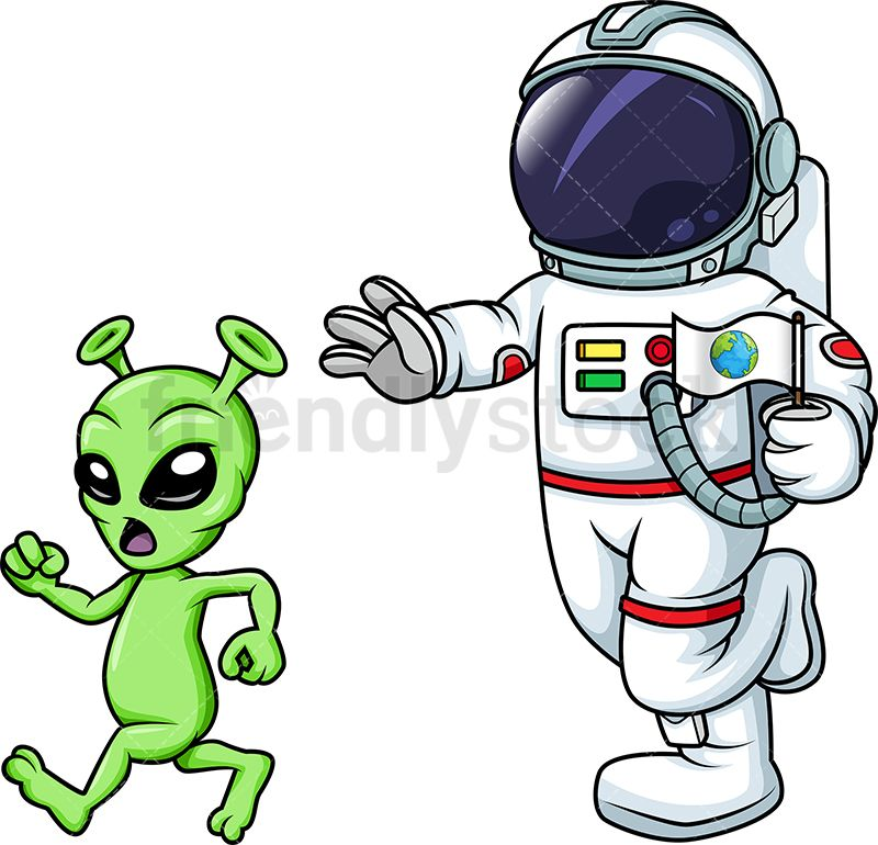 Astronaut holding flag clipart picture black and white library Astronaut Chasing Alien | Vector Illustrations | Astronaut, Free ... picture black and white library